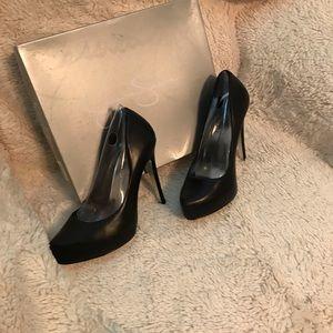 Jessica Simpson black leather heels, worn once.